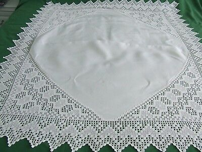 vintage linen tablecloth with hand crochet lace
