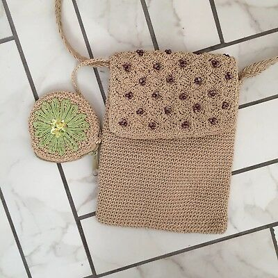 Real Vintage 1990s Raffia Wicker beaded  Cross body Bag - with coin purse .