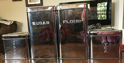 Vintage 1950's Lincoln BEAUTYWARE Chrome Kitchen Cannister Beautiful Set of Four