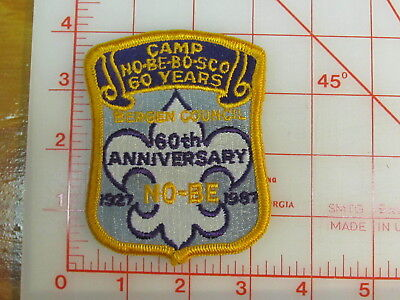 Camp NO-BE-BO-SCO 60th Anniversary 1927 - 1987 collectible patch (gY)