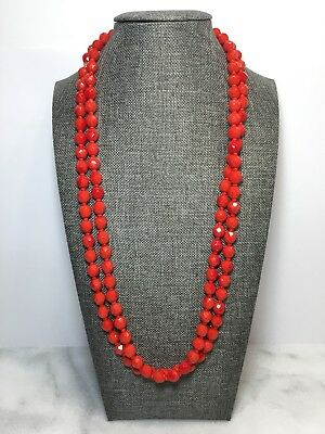 Vintage Faceted Red Color Glass Bead Necklace 48 Inches Long