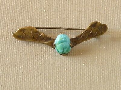 Antique Egyptian Revival Winged Scarab Pin Brooch