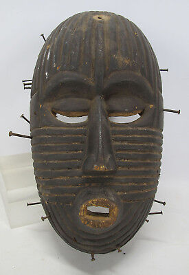 Antique African Songe Tribe Hand Carved Wooden Face Mask Nails Congo #26 yqz