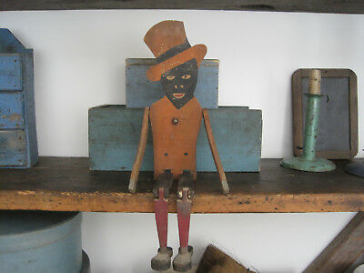 Old Primitive Original Dry Paint Wood Black Dancing Man American Country Find