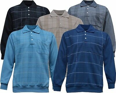 New Top Quality Mens Long Sleeve Check Polo Sweatshirt Top M -2XL