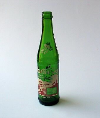 "1960s MOUNTAIN DEW ""Hillbilly"" 10 oz. ACL BOTTLE Filled By Bill & Jerry"