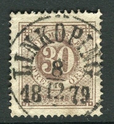 SWEDEN 1870s early classic ' ore ' issue fine used 30ore. fine Postmark
