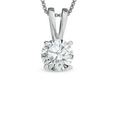 0.35Ct Real Diamond Solitaire Pendant Necklace 4 Prong Set 14K White Gold 4.00MM