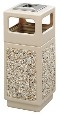 15 gal. Tan Plastic Square Trash Can/ Ash Tray SAFCO 9470TN