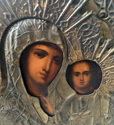 19th Antique Russian Silver & Hand Painted Wood Icon Our Lady Kazan Museum Piece