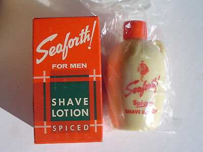 "SEAFORTH! ""SPICED"" SHAVE LOTION near full 4 OZ. BOTTLE VINTAGE NEW OLD STOCK."