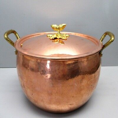 Huge Ruffoni Made in Italy Hammered Copper Brass Acorn Stock Pot Cauldron