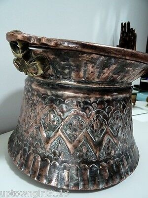 Persian antique kettle COPPER POT Nomadic? roughly hewn SNAKE HANDLES 4+ LBS