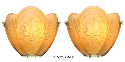 Magnificent Imposing Pair of French Embossed Shade Art Deco Sconces ANT-1002