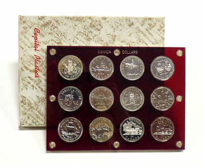 Set of 12 1971-1981 Canada Silver Dollars in Capital Plastics Case