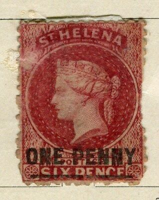 ST. HELENA;  1864-80 classic QV Crown CC issue unused 1d. value