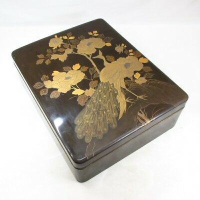 F187: Real old Japanese lacquered BUNKO hand box with wonderful MAKIE of peafowl