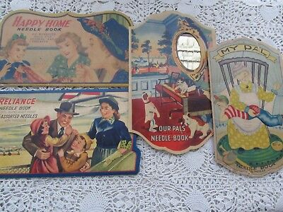 Vintage Lot 4 Collectibe Needle Books 'my Pal/our Pal/happy Home/reliance
