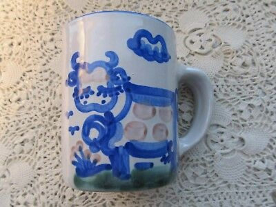 M.a. Hadley Pottery Spotted Cow Country Scene Coffee Mug