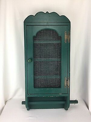 """Vintage Rustic Wall Cabinet With Paper Towel Roll Green Shabby Chippy Rustic 32"""""""