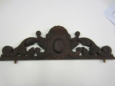 Antique Carved Pine Pediment - Stained Walnut