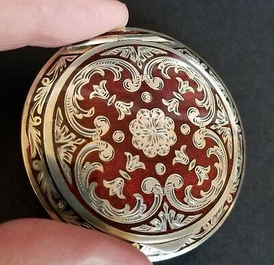 Guilloche Ruby Red Austria Ornate Sterling Compact Enamel Double Sided Engraved