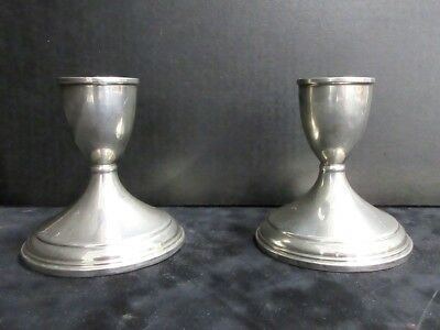 """Lot of 2 Presiner .925 Weighted Sterling Silver Candesticks Candle Holders 3.5"""""""