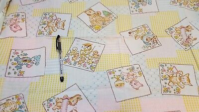 "Vintage Nursery Children Novelty Quilting Fabric Cotton Bunny Bear Duck 36"" wide"