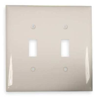 HUBBELL WIRING DEVICE-KELLEMS NPJ2W Toggle Switch Wall Plate,2 Gang,White