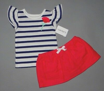 Baby girl clothes, 6 months, Carter's heavy red skirt over shorts/matching top