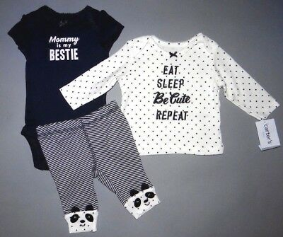 Baby girl clothes, 9 months, Carter's Little Baby Basics 3 piece set