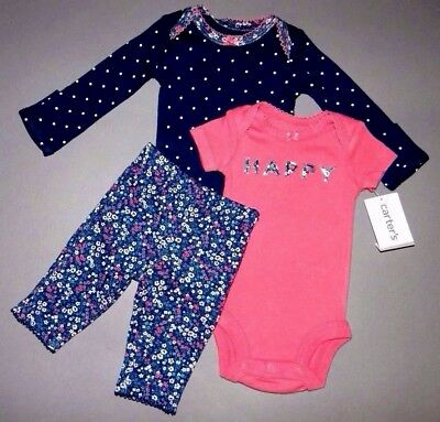 Baby girl clothes, Newborn, Carter's 3 piece colorful set/CUTE BACKSIDE