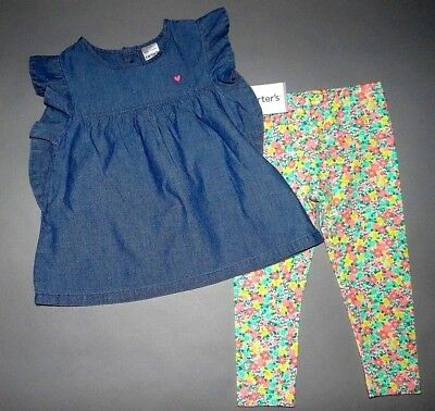 Baby girl clothes, 12 months, Carter's Jean Smock top/bright pants/SEE DETAILS!!