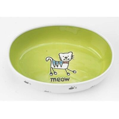 Petrageous Designs Silly Kitty Oval Pet Bowl In White/Lime. 2 cups