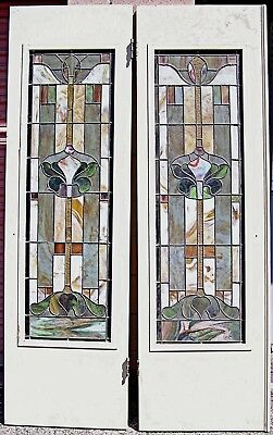 "Awesome Antique Art Nouveau Stained Leaded Glass Pair of Wood Doors 79"" by 48"""