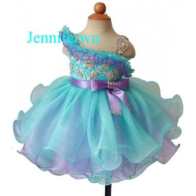 Infant//toddler//baby Mint Blue Pageant Dress G204-1 from size3-6months to size6T