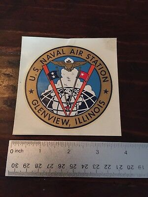 "1960s Vintage US Naval Air Station Glenview, Illinois Decal; 3.5"" Diameter"