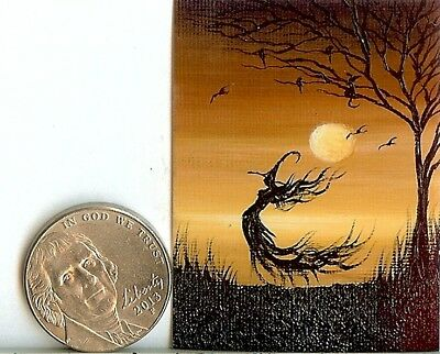 PRINT 2x1.5 Inch GLOSSY Spooky Forest Whimsical Dollhouse PRINT 1:12 Scale HYMES
