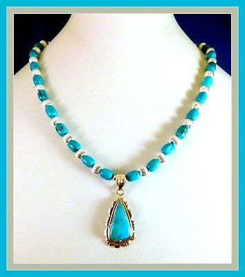 """VTG Native American Sterling Silver Turquoise PENDANT, new 17"""" Beaded necklace"""