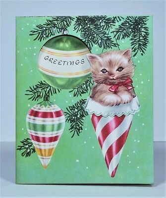 UNUSED '50s-'60s Kitten, Ornaments on Tree Branch, Cut-out Vtg. Christmas Card