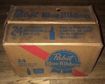 Pabst Blue Ribbon Beer Bottle Case Crate Vintage 60-70s PBR bottles Not Included