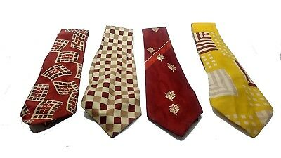 Lot of 4 Vintage 1940's 50's Assorted Checkered Ties