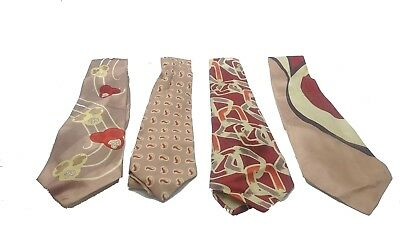 Lot of 4 Vintage 1940s 50s Paisley Checkered Assorted Ties
