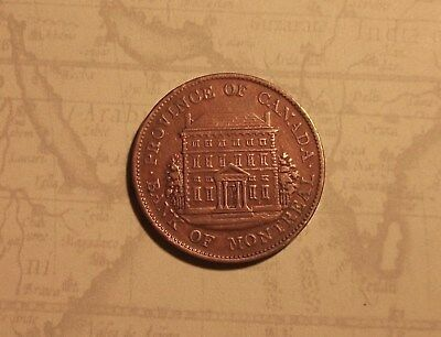 Bank Of Montreal 1844 Halfpenny Copper Token Tall Trees Small Nose.