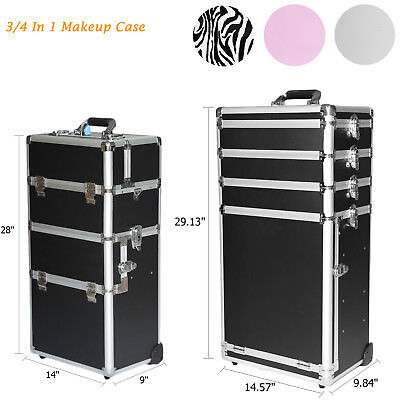 3/4 In1 Lockable Travel Makeup Train Cosmetic Case Trolley Jewelry Organizer Box
