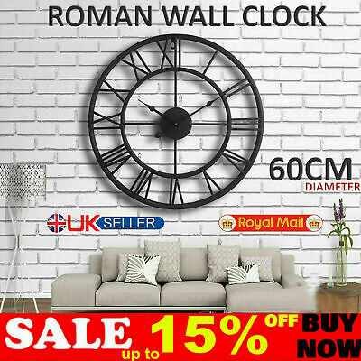 Skeleton Garden Wall Clock Big Roman Numerals Large Open Face Metal 40Cm Round O
