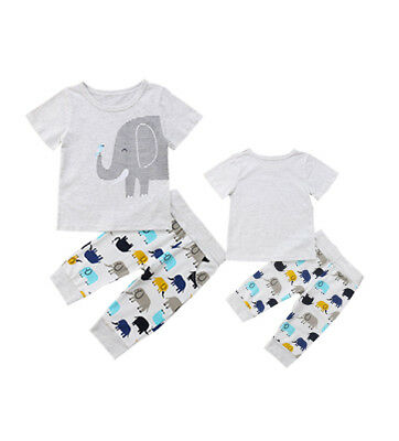 2PCS Newborn Toddler Baby Boys Girls Elephant Tops+Pants Set Kids Clothes Outfit