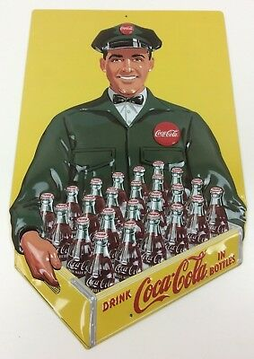 "Coca-Cola Coke Reproduction Metal Sign Delivery Man 12 1/2"" x 20"" Heavy Embossed"