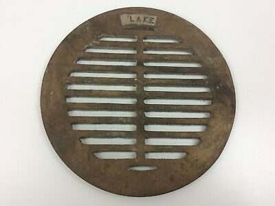"Blake Brass Round Floor Drain Grate 9"" OD 8"" ID for ""LAKE"" 3/16"" Thick Outer Lip"