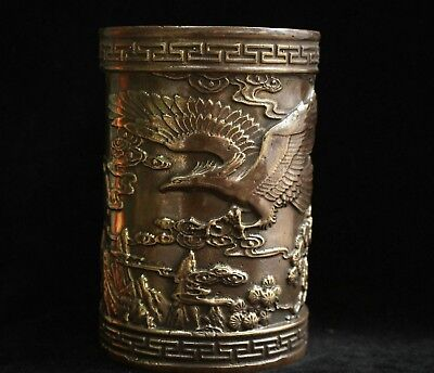 Marked China Palace Bronze Copper Bird Eagle Royal Noble Brush Pot pencil vase